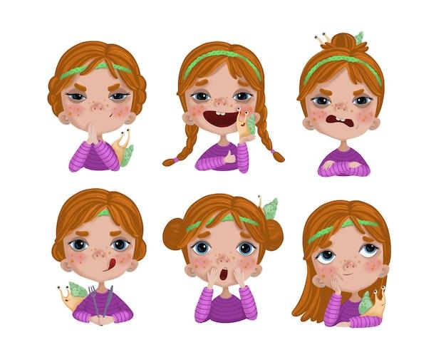 Een set stickers met een schattig meisje en een slak in verschillende sferen