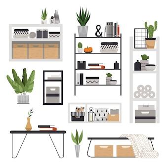 Een set stijlvolle moderne planken, rekken, tafels en nachtkastjes in scandinavische stijl. minimalistische meubels voor een gezellig interieur.