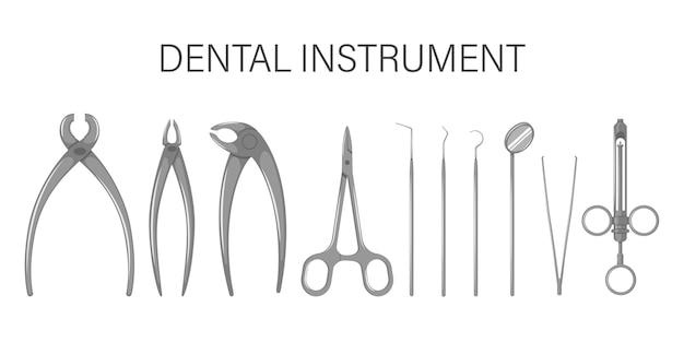 Een set tandheelkundige instrumenten. geïsoleerd op witte achtergrond.