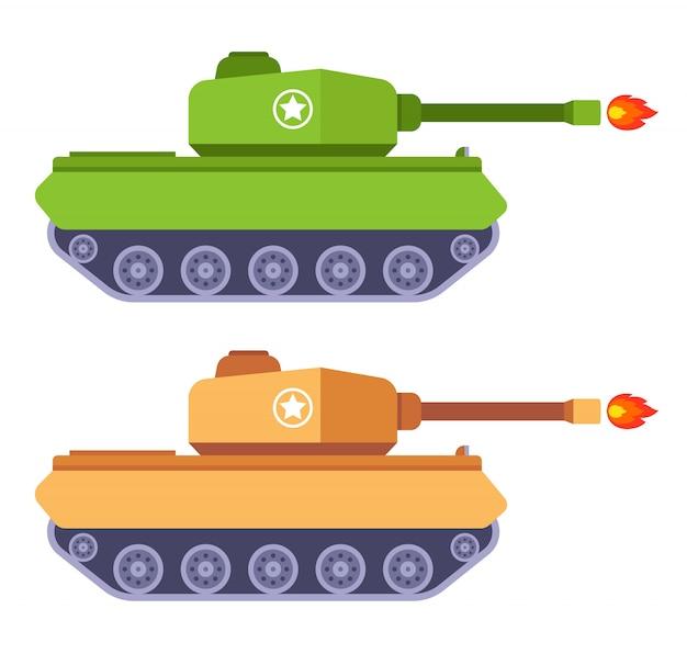 Een set tanks die een kanon afvuren. vlakke afbeelding van militaire uitrusting.