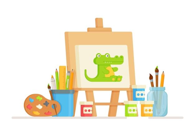 Een set tekenbenodigdheden. illustraties voor kunstacademie, schilderstudio, kunststudieconcept. hulpmiddelen voor artiesten