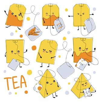 Een set theezakjes met schattige gezichten in doodle-stijl. oranje theezakjes met tags ..