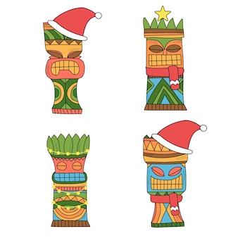 Een set tiki-idolen in kerstdecor. gekleurde idolen voor nieuwjaarsfeest