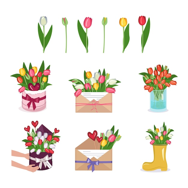 Een set tulpenbloemen