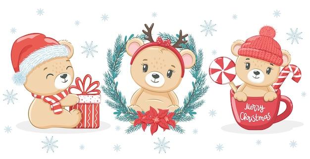 Een set van 3 schattige teddyberen voor nieuwjaar en kerstmis. vectorillustratie van een tekenfilm.
