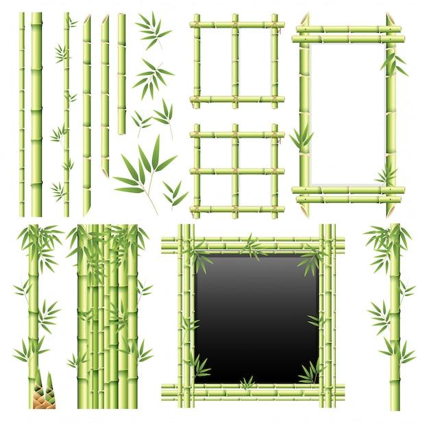 Een set van bamboe-element