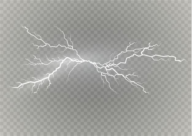 Een set van bliksemmagie en felle lichteffecten. illustratie.