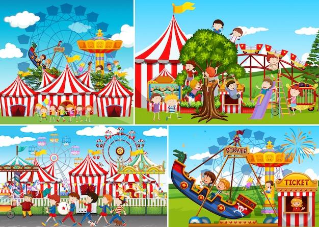 Een set van carnaval kermis