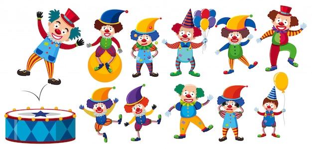 Een set van clown op witte achtergrond