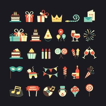 Een set van de verjaardag van pictogrammen Gratis Vector