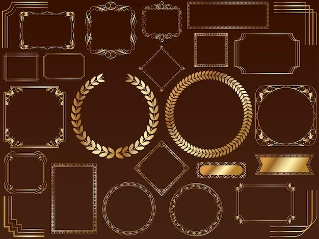 Een set van diverse goudkaders. (zonder voorbeeldtekst)