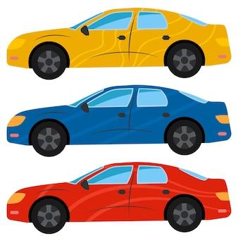 Een set van drie auto's in verschillende kleuren gespoten. vector illustratie