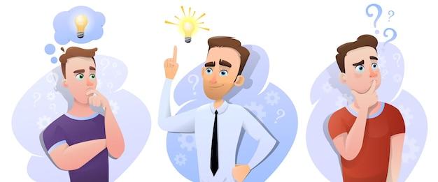 Een set van drie mannen in redenering met ideeën en oplossingen voor problemen. kantoormedewerker en student vraagtekens en gloeilamp met idee. vector illustratie