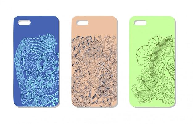 Een set van drie mobiele telefoonhoesjes. vector achtergrond in zentanglestijl. handgetekende elementen.