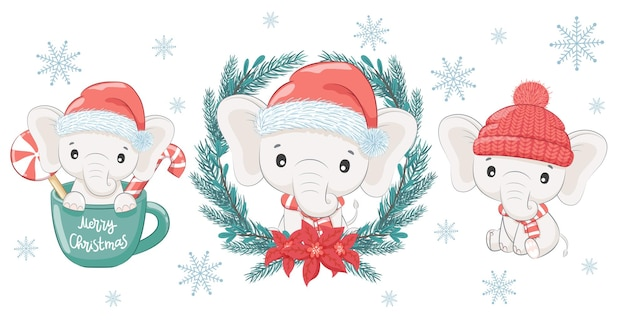 Een set van drie schattige en lieve babyolifanten voor het nieuwe jaar en kerstmis. de olifantenjongen. vectorillustratie van een tekenfilm.