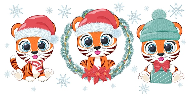 Een set van drie schattige en lieve tijgerwelpen voor nieuwjaar en kerstmis. vectorillustratie van een tekenfilm.
