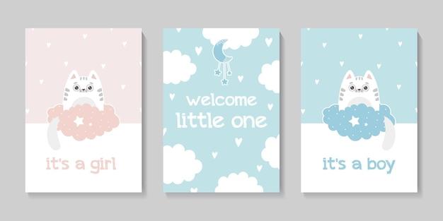 Een set van drie schattige kaartjes babyshower