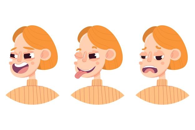 Een set van drie tekeningen van een vrouwelijk hoofd met verschillende emoties: lachen, flirten, knipogen, verdriet.