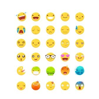 Een set van gele emoticons