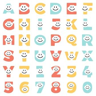 Een set van grappige letters en cijfers van tekens, vector illustraties.