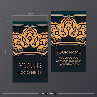 Een set van groene visitekaartjes met vintage ornamenten. printklaar visitekaartjeontwerp met luxe patronen.