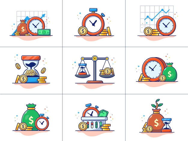Een set van investeringen illustratie.