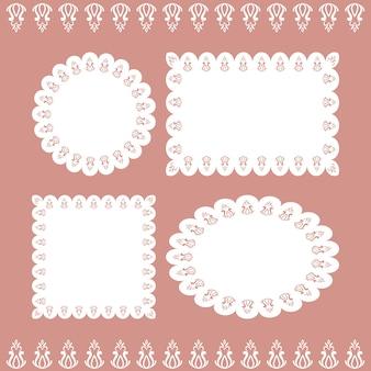 Een set van kant servetten van verschillende vormen.