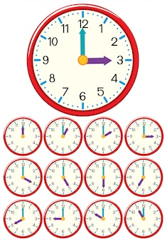 Een set van klok en tijd