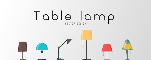 Een set van lampen op een witte achtergrond. meubelkroonluchter, vloer- en tafellamp in platte cartoonstijl. kroonluchters, verlichting, zaklamp - elementen van een modern interieur. illustratie.