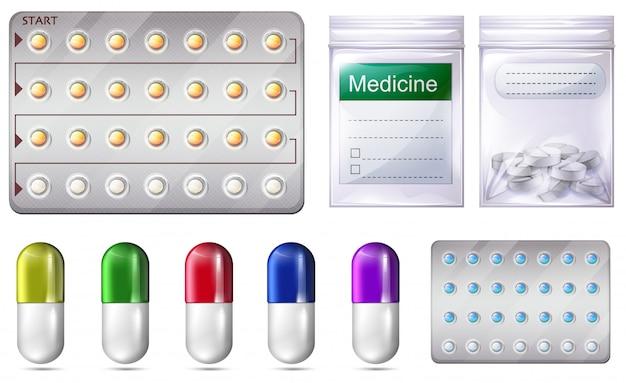 Een set van medicijnen en recept