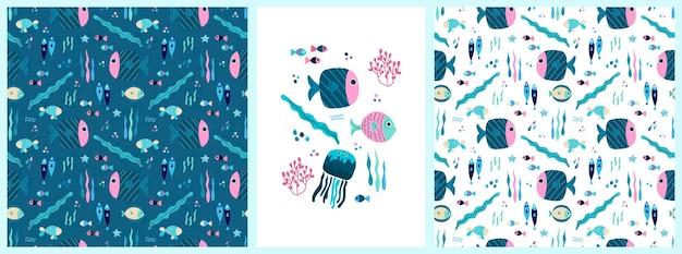Een set van naadloze patronen en posters met tropische zeevis