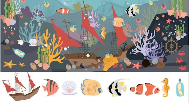 Een set van platte zeedieren zeeleven dieren planten gezonken objecten schip ankerkalligrafie