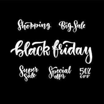 Een set van prachtige handgetekende zwarte vrijdag verkoop inkt belettering