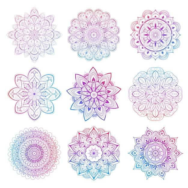 Een set van prachtige mandala's en kanten cirkels. ronde kleurovergang mandala. traditioneel oosters