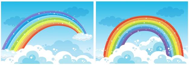 Een set van rainbow op sky