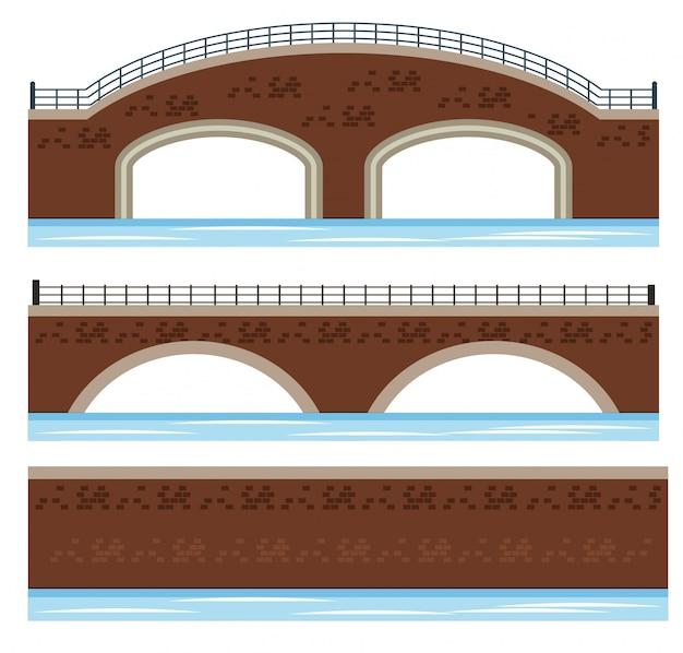 Een set van river bridge Premium Vector