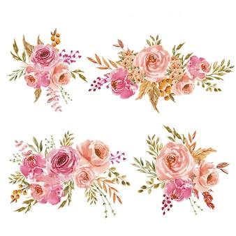 Een set van roze en perzik aquarel bloemen arrangement of boeket voor bruiloft uitnodiging