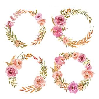 Een set van roze en perzik aquarel bloemen krans voor bruiloft uitnodiging