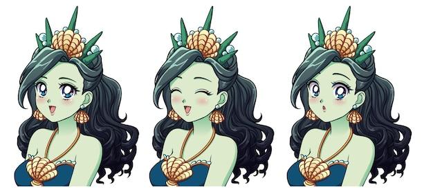 Een set van schattige anime zee prinses met verschillende uitdrukkingen.