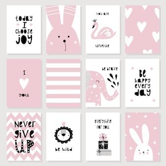 Een set van schattige roze kaarten en posters met dieren