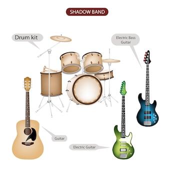 Een set van shadow band-muziekapparatuur