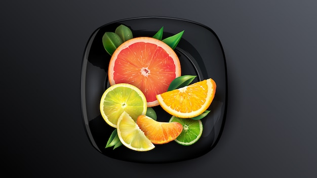 Een set van sinaasappel, grapefruit, limoen en mandarijn op een donkere plaat.