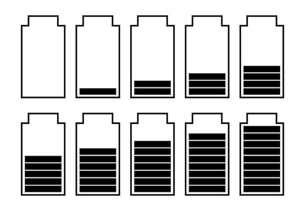Een set van tien batterijen met verschillende laadindicatoren. vector illustratie