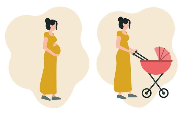 Een set van twee afbeeldingen een zwanger meisje dat haar buik knuffelt een jonge moeder die met een kinderwagen loopt