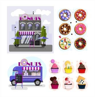 Een set van vectorwinkels, restaurants en café plat ontwerp van gevels street food van
