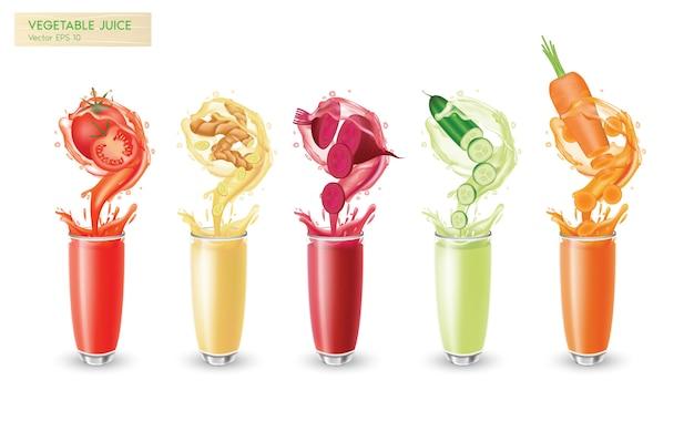 Een set van vers geïsoleerde groentesappen motion splash met druppels en bubbels