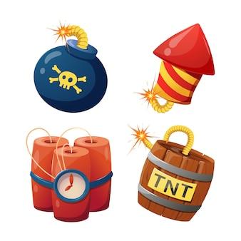 Een set van verschillende bommen voor de game-interface.