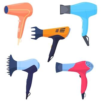 Een set van verschillende gekleurde haardrogers, met verschillende opzetstukken, haarverzorging. kleurrijke illustratie in platte cartoon stijl.