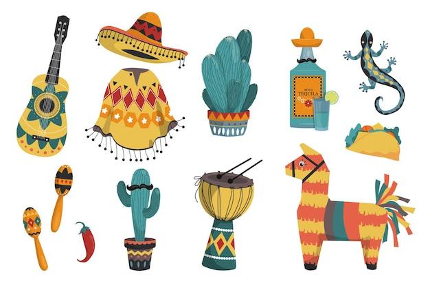 Een set van verschillende mexicaanse elementen. objecten van nationale kleur en cultuur.