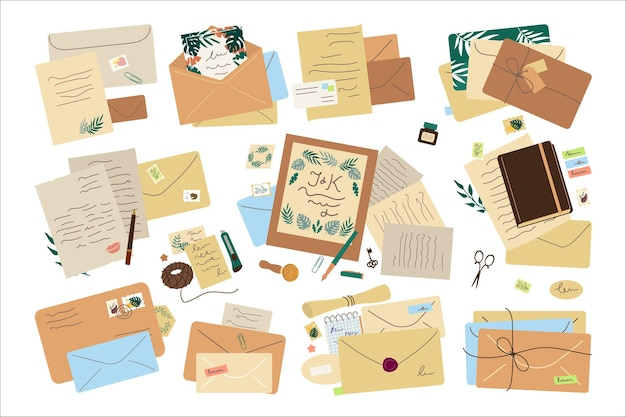 Een set van verschillende post enveloppen, merken en wenskaarten, pakketten.